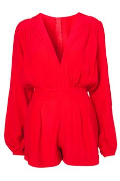 V-neck Pleated Red Playsuit