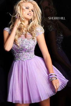 Cheap A-Line Appliqued Homecoming Prom Dress by Sherri Hill 21032 Lilac Grad Dresses Short, Hoco Dresses, Dance Dresses, Homecoming Dresses, Pretty Dresses, Beautiful Dresses, Short Prom, Prom Gowns, Dress Prom