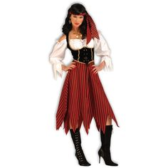 Pirate Maiden Adult Costume ($24) ❤ liked on Polyvore featuring costumes, halloween costumes, lady pirate costume, adult halloween costumes, sexy adult costumes, red costumes and pirate captain costume