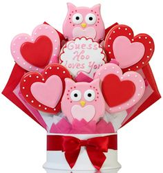 Corso's Cookies Hoo Loves You Valentine Cookie Bouquet - Cool Valentine's Day gift for her. Valentine Bouquet, Valentines Day Cakes, Valentine Desserts, Valentine Cookies, Birthday Cookies, Christmas Cookies, Easter Cookies, Bee Cookies, Fondant Cookies