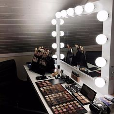 Makeup Vanity (Emily wants makeup table with Hollywood lights) Closet Vanity, Vanity Room, Makeup Rooms, Makeup Desk, Makeup Bar, Dressing Room Design, Spa Design, Glam Room, White Rooms