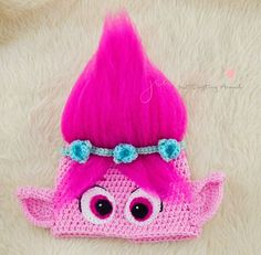 Free Poppy troll hat crochet pattern