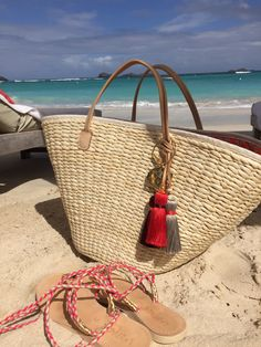 Beautiful handmade straw basket from India Hicks. Great for summer-check it out at indiahicks/rep/sherriw