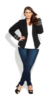 Love how the decorated cuffs draw all your attention  Plus Size Jewelled Cuff Jacket - City Chic - City Chic