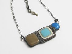 Urban Artifact | Fused Glass Jewelry | Bohemian | Stained Glass | Statement Pendant by groovyglassgirl on Etsy