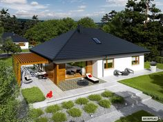 House design Astrid - top view - Small home - Bungalow House Plans, Bungalow House Design, Modern Bungalow, New House Plans, Small House Design, Small House Plans, Village House Design, Village Houses, 4 Bedroom House Designs