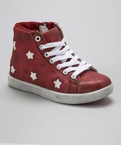 Aidele Burgundy Star Hi-Top Sneaker by Aidele #zulily #zulilyfinds