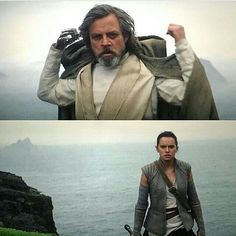 Luke and Rey meet in Star Wars The Force Awakens.