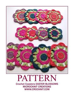 (4) Name: 'Crocheting : Crochet Coasters EASTER BLOSSOMS