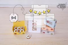 Miniature set - 5 Printable DIY paper boxes for tiny sweets Donuts. Which you can easily and instant download from here. Cute small boxes by MiniTeaStories are heartwarming addition to dollhouses, miniature stores/candy bars, roomboxes or any other places of passionate miniature