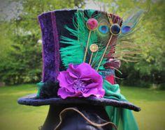 Items op Etsy die op Mad Hatter hoed, volledige grootte hoge hoed, hoge hoed, aangepaste cilinderhoed, Alice in Wonderland, Burning man lijken