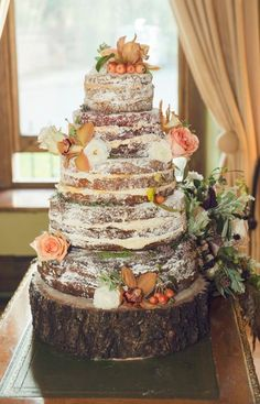 Rustic non traditional wedding cake idea :)