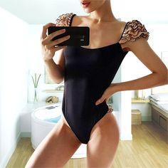 0dd3ddcb2bd4a US $11.62 31% OFF|Aliexpress.com : Buy 2019 Solid Shoulder Ruffle Bikini  Ladies Swimwear Women One Piece Swimsuit Female Biquini Sexy Backless Thong  Swim ...