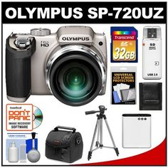 "Olympus SP-720UZ Digital Camera (Silver) with 32GB Card + Battery + Case + Tripod + Cleaning Kit by Olympus. $219.95. Kit includes:♦ 1) Olympus SP-720UZ Digital Camera (Silver)♦ 2) Precision Design PD-C10 Camera/Camcorder Case♦ 3) Transcend 32GB SecureDigital Class 10 (SDHC) Ultra-High-Speed Card♦ 4) Spare Li-50B Battery for Olympus & Pentax Li-92B♦ 5) Zeikos 50"" ZE-TR26A Compact Travel Tripod♦ 6) Precision Design Memory Card Storage Wallet♦ 7) Prec..."