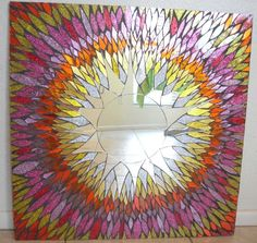 Large Pink and Orange Stained Glass Mosaic Mirror by spoiledrockin, $470.00