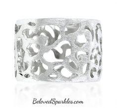 Hollis Filigree Matte Rhodium Fashion Ring » Beloved Sparkles | Fine Cubic Zirconia Jewelry | Crystal Hair Accessories