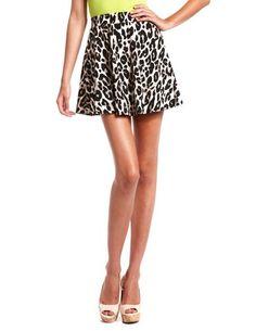 Leopard Print Skater Skirt: Charlotte Russe