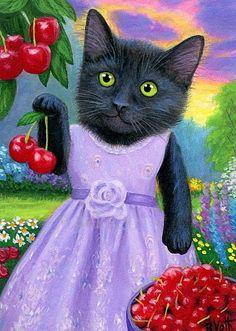 Black kitten cat picking cherries spring landscape original aceo painting art #Miniature