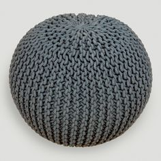 Charcoal Knitted Pouf | World Market. want it for an ottoman in kids room