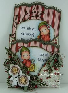 A double tag card featuring 'Edwin With Christmas Lantern' and 'Lace Hood Tilda.'