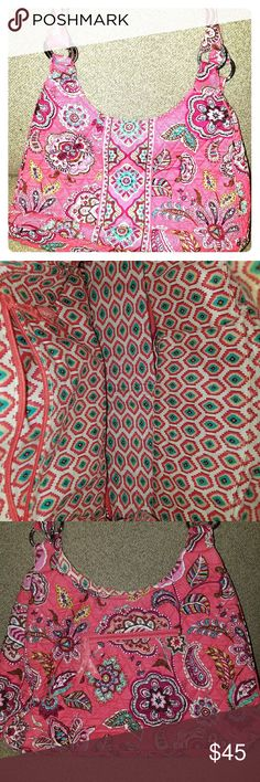 Vera Bradley Handbag Used once in good condition super fun spring pattern has. Pocket in the back of the back and front Vera Bradley Bags Shoulder Bags