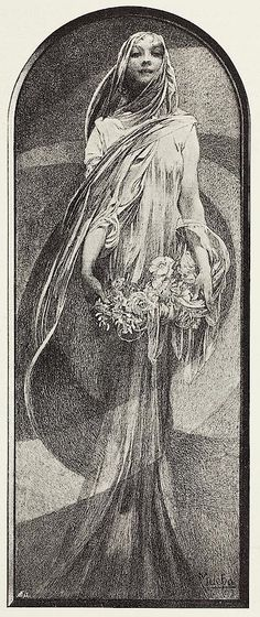 Illustration by Alphonse Mucha, May-June 1898, Study on a living room, Ver sacrum.