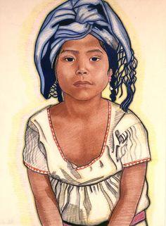 "Winold Reiss - Zapoteka Girl From Mitla, 1920. Pastel on paper, 20"" x 16"", J.N. Bartfield Galleries, New York, New York."