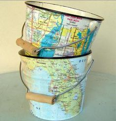 map decopage.  Perfect for storage or little containers.  Maybe do it with places you've been...