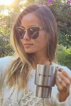 Jamie Chung Enjoys Coffee in a Cable Knit Sweater Girl With Sunglasses, Round Sunglasses, Jamie Chung, Angora Sweater, Knitwear Fashion, Hand Knitted Sweaters, Trendy Outfits, My Girl, Celebrity Style