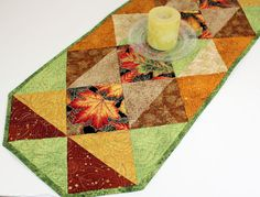 Autumn Quilted Table Runner Thanksgiving Quilt by QuiltSewPieceful