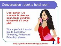 French Lesson 60 - Hotel room Booking Reservation on the phone - Formal Dialogue Conversation