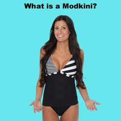 Hard to find cute tankinis that give me support.  This new invention turns a cute bikini (with underwire support) into a modest tankini for more coverage.  I might have to try it!  ||  Modkini