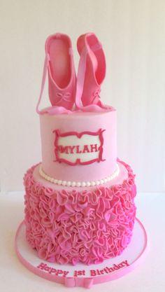 Ballerina cake w/ hand made fondant ruffles & sculpted ballet slippers