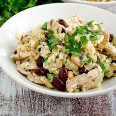 Salade de riz au poulet et haricots rouges