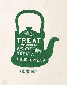 Je mag de lat best wat minder hoog leggen voor jezelf, zegt deAmerikaanse Kristin Neff. Zezette het begrip zelfcompassie op de kaart. Deborah van der Schaafmaakte dit fijne fluitketeltje, die als postertje en als kaart in Flow Mindfulness zat.