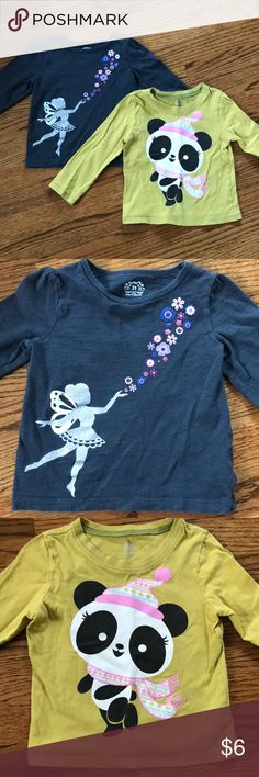 Casual long sleeved t-shirts Good used condition long sleeved shirts in 3T. Gray fairy shirt is from Carter's and green panda shirt is Children's Place. Snow stains or tears. Appliqué for both includes glitter paint. Smoke free home. Carter's Shirts & Tops Tees - Long Sleeve
