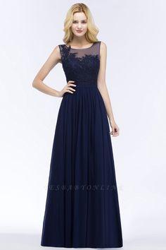 A-line Appliques Scoop Sleeveless Floor-Length Bridesmaid Dresses   Yesbabyonline.com