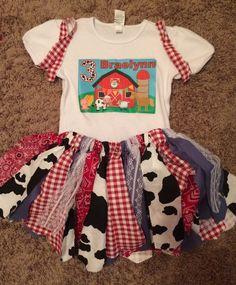 Farm Themed Birthday Scrap Tutu Outfit by Fun1Fancy on Etsy