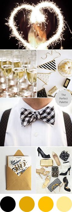 {A Sparkly Soiree}: A Palette of Black, Gold + White http://www.theperfectpalette.com/2012/10/a-sparkly-soiree-palette-of-black-gold.html
