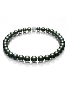 Black South Sea Cultured Pearl Strand Necklace by Mikimoto.
