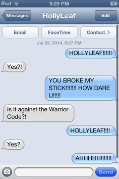Warrior Cats having a text meeting ( don't mess with jay's stick)
