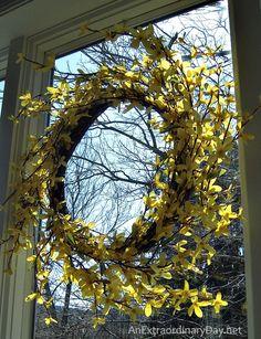 Metamorphosis :: Spring Decor :: Forsythia Wreath :: AnExtraordinaryDay.net
