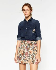 Image 1 of EMBROIDERED DENIM SHIRT from Zara