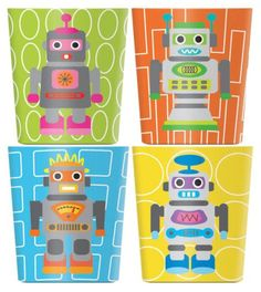 French Bull Melamine Robot Kids Juice Cup 6-oz (Set of 4), Multicolored - casa.com