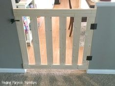 How to Build a 10 Minute Baby/Pet Gate - 10 minute diy baby pet gate, diy, fences, painted furniture, woodworking projects - Diy Gate, Diy Baby Gate, Diy Dog Gate, Barn Door Baby Gate, Wood Baby Gate, Diy Bathroom, Finding Purpose, Woodworking Projects, Wood Projects