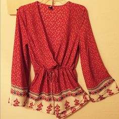 Just in!! Red bohemian romper NEW Cotton blend romper / Size Medium / U.S. 6 / drawstring waist / long bell sleeve/ high waist / shoulder 14.8 in / sleeve 24.2 inches / chest 37.4 inches / waist 39 inches / length 28.1 inches/ light weight, breezy material Other