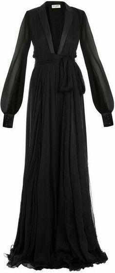 black full lenght *chiffon* gown <3