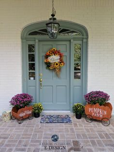 Benjamin Moore Sioux Falls blue green front door, Sherwin White Duck off white painted brick exterior. Kylie M Interiors Edesign, curb appeal and online decorating ideas for paint colour Teal Front Doors, Cottage Front Doors, Victorian Front Doors, Front Door Paint Colors, Best Paint Colors, House Front Door, Painted Front Doors, Front Door Decor, Paint Colours