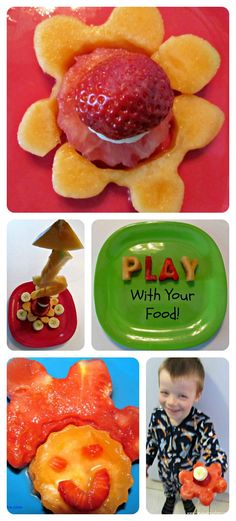 Get the kids to have fun and try something healthy while they PLAY with FOOD!  Erin of The Usual Mayhem shares how her kids have fun with fruit. B-InspiredMama.com.