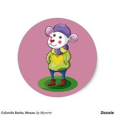 Colorido Ratón. Mouse. Producto disponible en tienda Zazzle. Product available in Zazzle store. Regalos, Gifts. Link to product: http://www.zazzle.com/colorido_raton_mouse_classic_round_sticker-217264936972886217?CMPN=shareicon&lang=en&social=true&rf=238167879144476949 #sticker #ratón #mouse